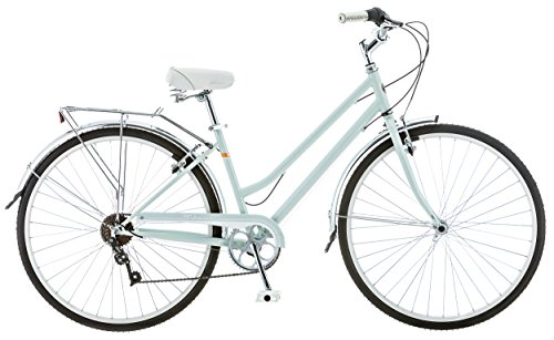 Schwinn Wayfarer Hybrid Bicycle, Featuring Retro-Styled 16-Inch/Small Steel Step-Through Frame and 7-Speed Drivetrain with Front and Rear Fenders, Rear Rack, and 700C Wheels, Light Mint ()