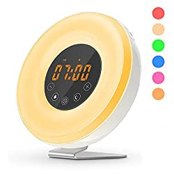Wake Up Light Digital Alarm Clock Sunrise Simulation 7 Colors LED Night Lights 6 Nature Sounds with FM Radio Snooze Mode for Adults kids