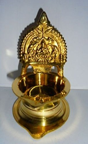 Art Collectibles India Diwali Brass Kamakshi Oil Lamp(Brass Diya Hindu Goddess Laxmi)for Religious Hindu Puja /Pooja Aarti/ Navratras