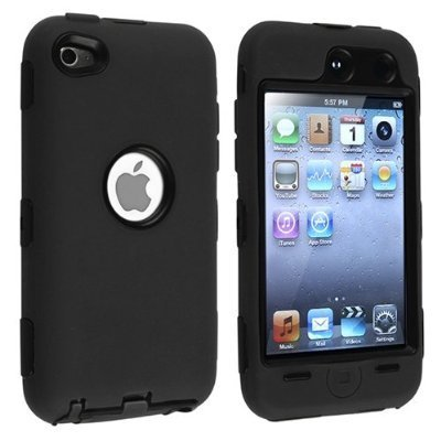 Black Hard / Black Skin Hybrid Case Cover compatible with Apple iPod Touch 4G, 4th Generation, 4th Gen 8GB / 32GB / (Ipod 8gb 4th Gen)