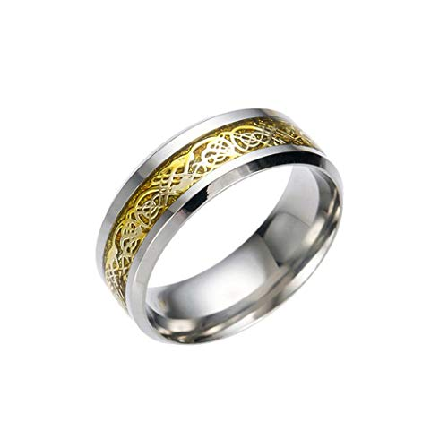 Celtic Zirconia - 2018 Clearance Sale! Rings for Teen Boys Grils Jiayit Women Men Silver Golden Plated Celtic Dragon Punk Rings Tungsten Carbide Wedding Band Ring (11, Gold)