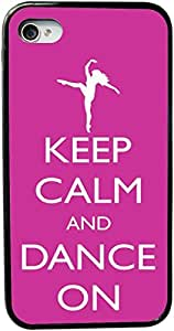 Rikki KnightTM Keep Calm and Dance On - Pink Rose Color Design iPhone 4 & 4s Case Cover (Black Rubber with bumper protection) for Apple iPhone 4 & 4s