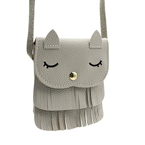 Yodensity Girls Tiny Cat Shoulder Bag Mini PU Leather Carry-On Bag Purse with Tassel Soft Comfortable Grey