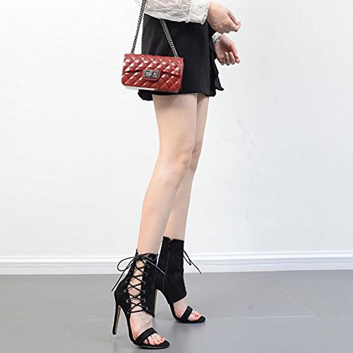 Femmes Serpentine Sandales Cross Straps Peep Toe Talon Aiguille Lace Up Nightclub Party Pompes Sandales Black vX98s0X