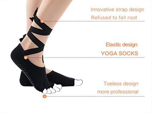 Amazon.com : Half Toe Toeless Ballet Style Cotton Non Slip Non Skid Slip Resistant Yoga Socks with Grips For Barre Pilates Yoga Dance Calcetines Compression ...