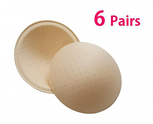Women Removable Sport Bra Insert Pads Breathable Smart Cups 6 Pairs Nude