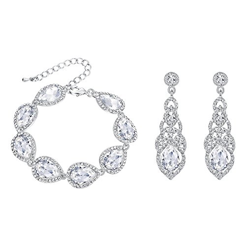 BriLove Wedding Bridal Bracelet Earrings Set for Women Crystal Art Deco Teardrop Tennis Bracelet Dangle Earrings Set Clear Silver-Tone