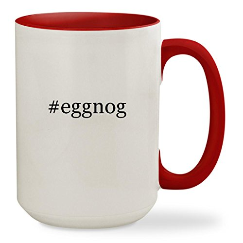 #eggnog - 15oz Hashtag Colored Inside & Handle Sturdy Ceramic Coffee Cup Mug, Red