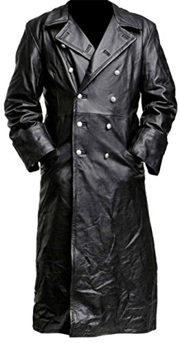 Spazeup German Classic Military Officer Black Leather Trench Coat