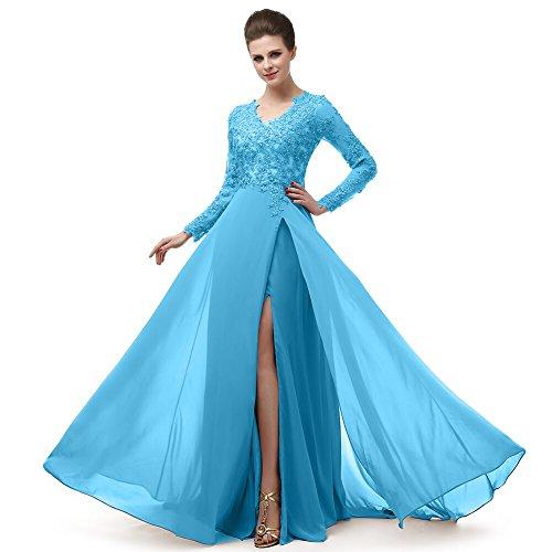 Beautiful Prom V Neckline Ruffled Skirt Long Sleeve High Waistline Cocktail Dress MNQ170406-Sky Blue-US18 Plus