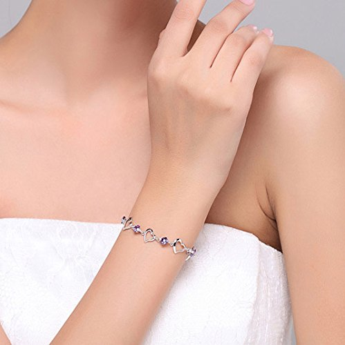 menoa Love Heart Link Bracelet Chain 6.4inches Expandable White Gold Plated Lover Mom Classic Gift