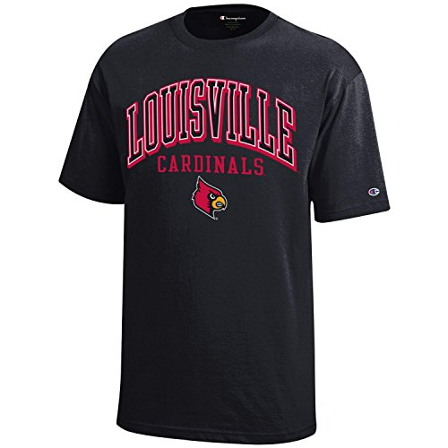 NCAA Louisville Cardinals Youth Boys Champion Short sleeve Jersey T-Shirt, Large, - Louisville Center Kids