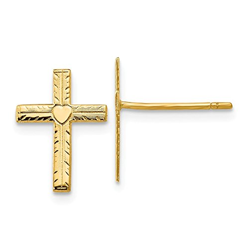 14k Yellow Gold Heart Cross Religious Post Stud Earrings Ball Button Fine Jewelry Gifts For Women For Her