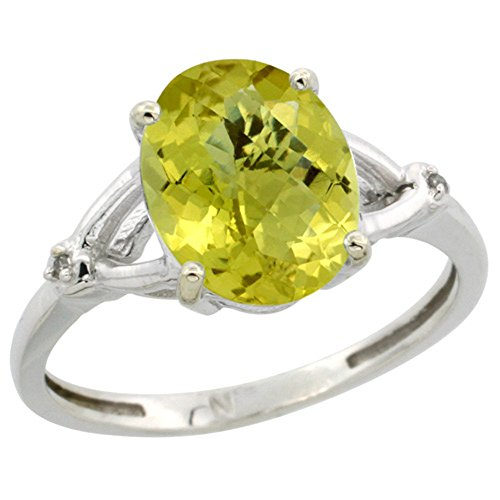 Sterling Silver Diamond Natural Lemon Quartz Ring Oval 10x8mm 3/8 inch wide, size - Oval Quartz Lemon Ring