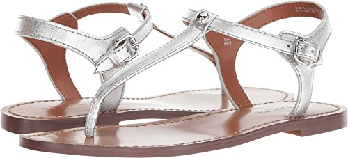 Coach Women's T-Strap Sandal Silver Metallic Leather 7.5 M ()