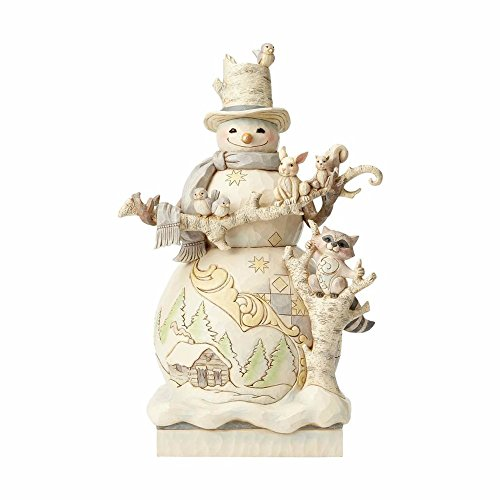 Enesco, Jim Shore Heartwood Creek White Woodland Snowman Statue]()