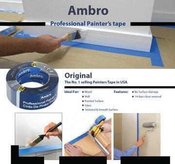 Ambro Professional Painters Tape Multi Surface Use (Blue) (12 pack, 2 inches x 60 yds) by Ambro (Image #3)