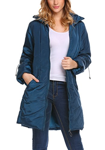Women's Stand Collar Down Puffer Parka Jacket Winter Warm Long Coat Navy Blue XL