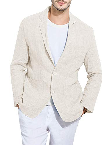 - Mens Linen Slim Fit Suit Lightweight Blazer Casual Beach Wedding Jacket Outfits Beige