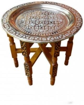 Saharashop Orientalischer Teetisch Tefor Holz Ø 60 cm Silber