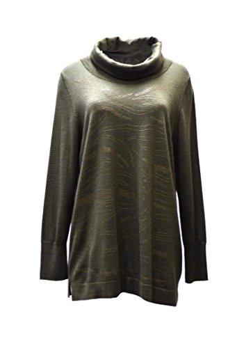 Basler Womens Cowl Neck Wool/Silk Studded Tunic Sweater SZ 18 Forest Green 190320E