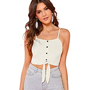 SheIn Women's Summer Basic Sexy Strappy Sleeveless Racerback Crop Top (X-Small, Knot White)