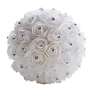 Wedding Bouquet Bridal Bridesmaid Flower Artificial Flower Rose Bouquet White Bridal Bouquets 8