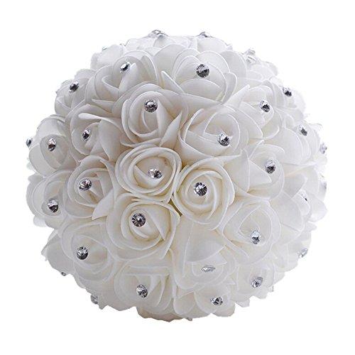 (Wedding Bouquet Bridal Bridesmaid Flower Artificial Flower Rose Bouquet White Bridal Bouquets)