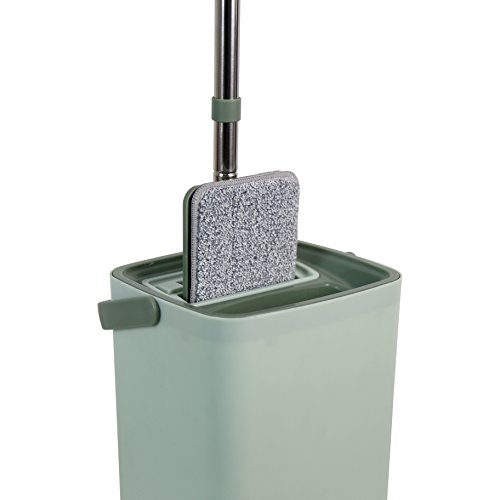 Helang Wet Mop Flat with Bucket PP material Squeezing Mop Wash Dry Home Floor Cleaning Tools by Helang (Image #1)