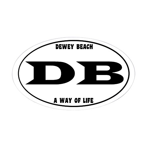 Beach Decal Sticker (CafePress - Dewey Beach Euro - Oval Bumper Sticker, Euro Oval Car Decal)