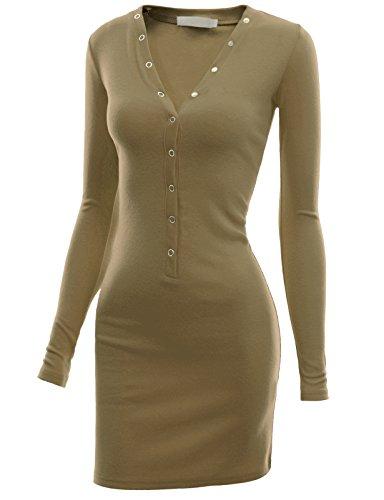 Doublju Womens Comfy Button Henley Neck Mini Dress MOCHA,M - Henley Tank Dress