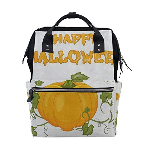 Diaper Bags Happy Halloween Pumpkin Leaf Fashion Mummy Backpack Multi Functions Large Capacity Nappy Bag Nursing Bag for Baby Care for Traveling]()