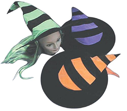Striped Witch Hat With Hair, (Witch Striped Wig)