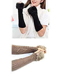 Abcsea 2PCS Fingerless Arm Warmer, Fingerless Hair Arm Sleeves, Unique Hop Women Stretchy Knitted Long Arm Sleeve Fingerless Gloves Imitation Rabitts Hair - Black and Khaki