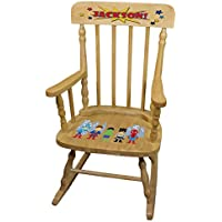 Personalized Boys Super Hero Wooden Childrens Rocking Chair
