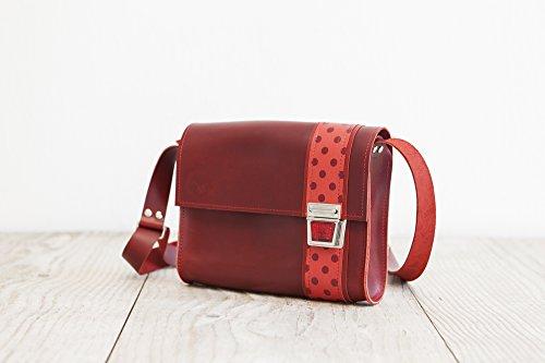 Lederhandtasche, rote Umhängetasche, femininer Crossbodybag
