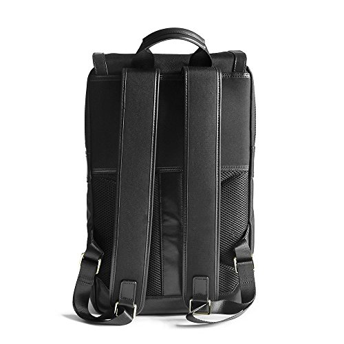 Waterproof Laptop Backpack 17-inch Leather Business Work College School Travel for Women / Men (Black) by Arden Cove (Image #1)