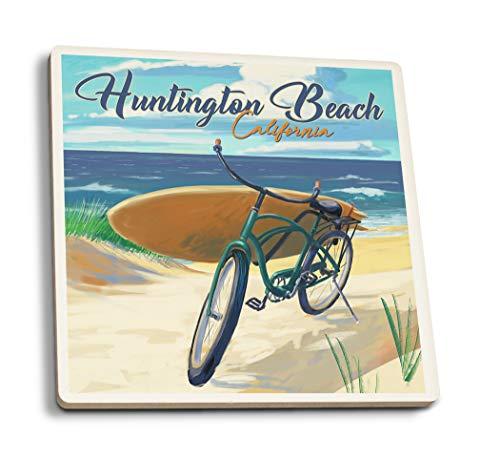 (Lantern Press Huntington Beach, California - Beach Cruiser on Beach (Set of 4 Ceramic Coasters - Cork-Backed,)