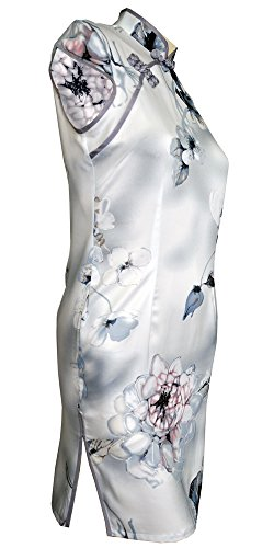 Amazing Grace Elephant Co. Co Étonnante Grâce Éléphant. Women's Chinese Sexy Qipao, Cheongsam Dress Gray Floral Qipao Sexy Chinois Femmes, Robe Cheongsam Floral Gris