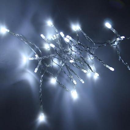 Ecloud Shop Tira Cadena Luz Lám 40 LED Decoración Navidad Blanco Alimentado Por Pilas