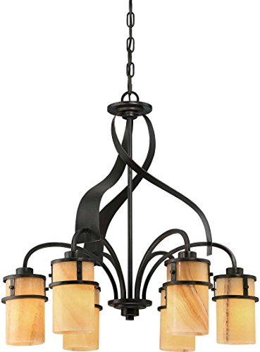 Quoizel KY5106IB Kyle Wrought Iron Faux Alabaster Downlight Chandelier, 6-Light, 600 Watts, Imperial Bronze (24
