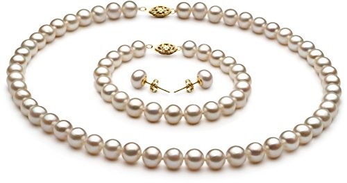 PearlsOnly White 7.5-8.5mm AA Quality Freshwater Cultured Pearl Set-16 in Chocker length by PearlsOnly