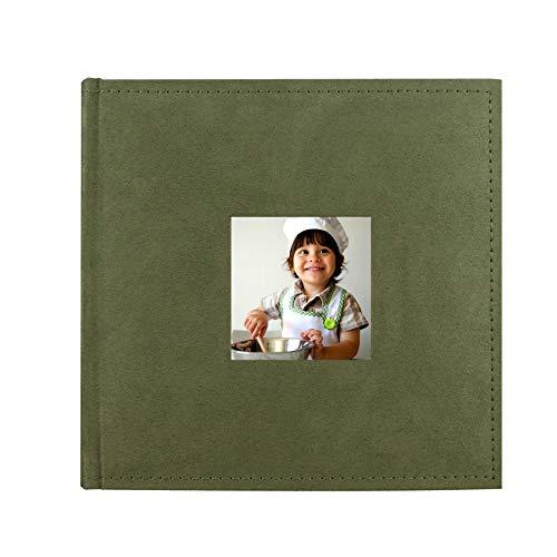 PINGGUO Zoview Sewn Bonded Photo Album Book, Family Album, Suede Cover Pocket Photo Album, 200 Photos Hold 4X6 Photos Horizontally, Two Photos per Page, Green