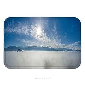 Franela de microfibra antideslizante suela de goma suave absorbente Felpudo alfombra alfombra alfombra vista panorámica de la nubes scky en las nubes con montañas y el sol 545108173para interiores/para exteriores/baño/Kitc