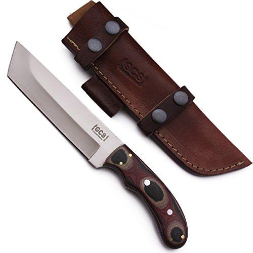 GCS Custom Handmade D2 Tool Steel Red, Blue  White Beautiful Micarta Handle Large Tactical Tanto  Buffalo Hide Buffalo Hide Sheath 24