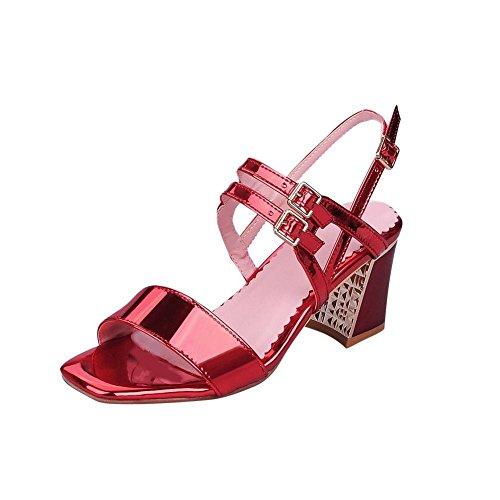 Patent Charm Sandals Chunky Carolbar Fashion Leather Womens Heel Buckle Mid Multi Open Toe Red Ctxw6Uq16