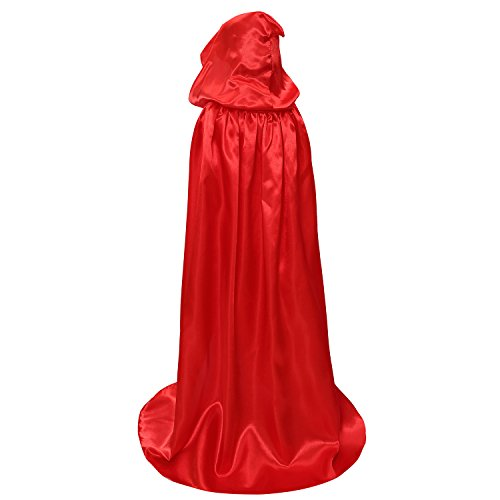 Kids Hood Cloak Costume Full Length Cape for Halloween Christmas Coaplay Cloak (Red, 100cm / 39.4inch) -