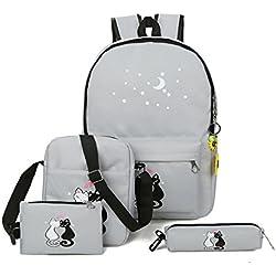 yqwel Mochila Casual escolar de lona con diseño de gatos, para niñas , gris