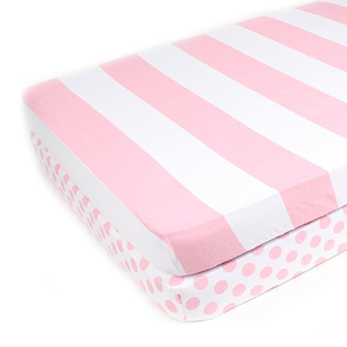 Pack N Play Playard Sheet Set - 2 Pack - Fitted, Soft Jersey Cotton Portable Crib Sheet - Baby Bedding in Pink Stripes & Polka Dots by Mumby ()
