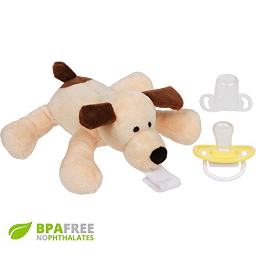 Plush Pacifier Holder with stuffed animal - Detachable Puppy Dog Toy for (Pacimals Pacifier)